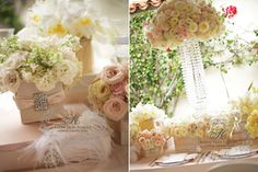 romantic blush color wedding with crystal strands centerpieces ~ vessel wrapped in silk crystals and feathers