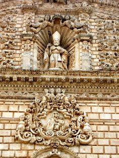 St. Nicholas on the baroque facade of the Cathedral, Sassari, Sardinia
