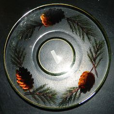 Yankee Candle Jar Plate NEW Crackle Pine Gold Tray - Shade Sold Separately
