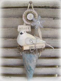 Handmade Winter White Christmas Vintage Christmas Bird  Shabby White Tussie Mussie Victorian Paper Cone  Vintage Christmas Decoration