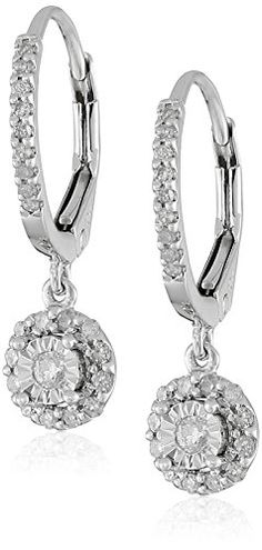 10k White Gold Diamond Dangle Earrings (1/4cttw, I-J Color, I2-I3 ...