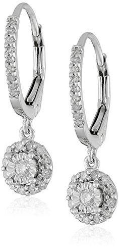 10k White Gold Diamond Dangle Earrings (1/4cttw, I-J Color, I2-I3 ...