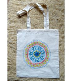 Hand painted tote bag with hearts and flower mandala by WearBeauty