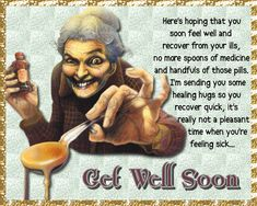 A quirky get well card to wish someone a speedy recovery. Free online No More Spoons Of Medicine ecards on Everyday Cards Morning Hugs, Good Morning Cards, Good Morning Wishes, Get Well Soon Funny, Get Well Soon Quotes, Healing Wish, Healing Hugs, Im Thinking About You, Wishes For You