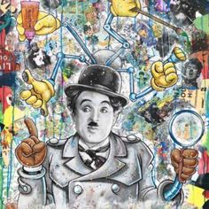 Inspector Chaplin, Bao   #Bao #PopArt #Art #artist #artwork #Painting #Painter #HomeDecor Pop Art, Charlie Chaplin, Painting, Baseball Cards, Artwork, Toile, Artist, Work Of Art, Auguste Rodin Artwork