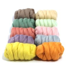 Pretty Pastels - 10 Colours - Dyed Merino Wool Tops