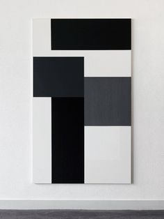 Arjan Janssen, oil on canvas, 2005   i see a sense of movement and three-dimension with the placement of these black white and grey rectangles...