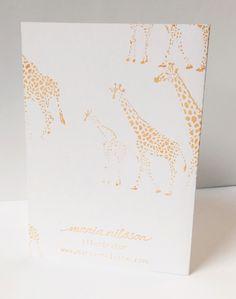 Giraffes card back by maria nilsson