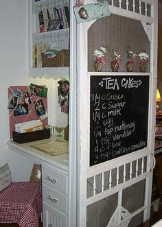 Turn an old screen door into a Menu Board & Shelf. (DIY Craft Projects using Old Vintage Windows Doors - Trash to Treasure - Architectural Salvage) could do this with our announcements, hours, giveaways for His Habitation!