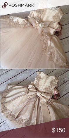 Girls special occasion dress This beautiful champagne dress is perfect for any occasion! Made of high quality fabric and lace. The trimming lace is embellished with Swarovski crystals. Dresses Formal