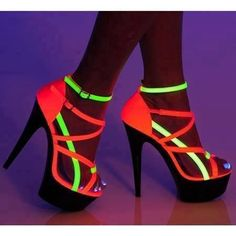 Ravewear and Clubwear 6 Two Tone Strappy Platform Sandals Black light receptive glow shoes.these are kinda STRIPPER heels. Neon Heels, Shoes Heels, Neon Sandals, Bright Heels, 80s Shoes, Stiletto Shoes, Strappy Sandals, Crazy Shoes, Me Too Shoes