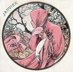 Alphonse Mucha - Month's of the Year - January - Art Nouveau
