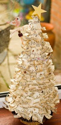 Paper Christmas Tree - cut strips of music paper pinned to styrofoam tree.
