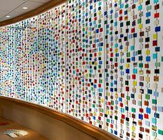 fused glass mini panels form window / wall covering / art. Eva Bennett