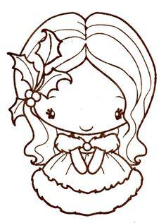 stamp - christmas girl