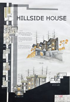 The Hillside House Home Architecture Styles, Plans Architecture, Architecture Panel, Architecture Student, Architecture Drawings, Architecture Portfolio, Concept Architecture, Architecture Design, Presentation Board Design