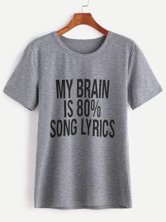 Heather Grey Slogan Print T-shirt