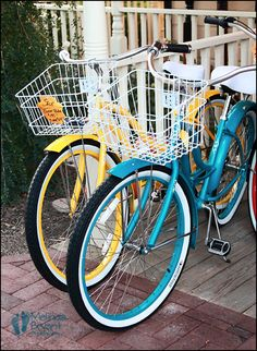 Colorful retro bikes!  I have a bike almost exactly like these :) I absolutely can NOT wait to start riding it around campus! :D