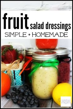 These Simple Fruity Vinaigrette Salad Dressing Recipes are super easy to make, super flavorful with ingredients you already have on hand. Perfect for a spring or summer salad.