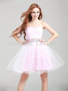 New Fashion Custom Made Sweetheart Ruffles Waist With Beading Ball Gown Homecoming Dress