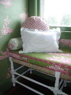 French country bench with pink and green toile cushion