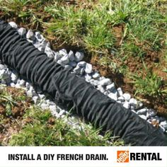 Prevent backyard flooding by installing a French drain. Rent what you need to get started. Backyard Drainage, Backyard Landscaping, Landscape Drainage, Landscaping Ideas, Backyard Ideas, Outdoor Projects, Home Projects, Concrete Projects, French Drain Installation