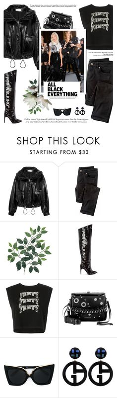 """| All Black Everything |"" by aurumx ❤ liked on Polyvore featuring Wanda Nylon, Wrap, Off-White, Puma, Alexander McQueen, Balmain, N°21 and Giorgio Armani"