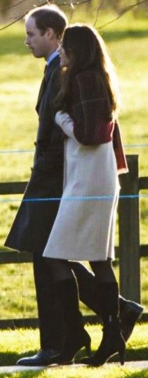 25 December 2013 - William and Kate take a morning walk around the grounds of the Sandringham Estate with other members of the Royal Family
