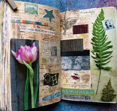 I don't know if we would be allowed to do this but I think this is kinda cool because it's sort of like a scrapbook within a book Wreck This Journal, Junk Journal, Art Journal Pages, Art Journals, Art Doodle, Glue Book, Nature Journal, Garden Journal, Arte Horror