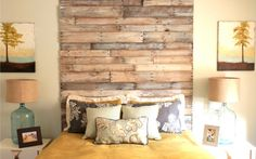 Wood Pallet Wall over master bathtub! This would totally fill that ugly big angled wall. A cool shelf in the middle with towel hooks below and baskets on top with the nice linens. Oh love...where are you........