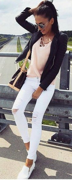 #fall #trending #outfits | Blush + Black and White