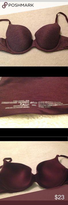 Aerie Sunnie Demi-Perky Push-up Bra Size 34DD Only worn twice! Deep plum/burgundy bra from Aerie. Size 34DD. Feel free to make an offer! ❤️ aerie Intimates & Sleepwear Bras