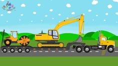 New Transport Truck   Excavator and Compactor Roller   Toy Factory - Vid...