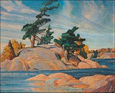 Quality print by Group Of Seven artist Franklin Carmichael - Island Georgian Bay; Available framed, giclee canvas. Made In Canada. Group Of Seven Artists, Group Of Seven Paintings, Tom Thomson, Canadian Painters, Canadian Artists, Landscape Art, Landscape Paintings, Oil Paintings, Landscapes