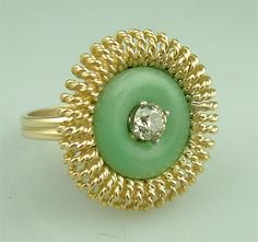 Love this! An antique Art Deco Gold Diamond Jade Ring Vintage Estate Jewelry (circa 1930s-1940s). $495