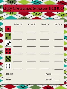 UGLY Christmas Sweater Bunco Score sheet.