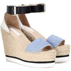 See By Chloé Printed Leather Wedge Espadrilles ($215) ❤ liked on Polyvore featuring shoes, sandals, wedge sandals, leather wedge sandals, blue leather sandals, leather sandals e espadrille wedge sandals