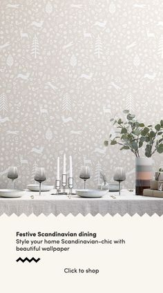 Forget about the old-fashioned green and red colour palette this festive season and instead opt for simple, stylish decor inspired by the Scandinavian interior design ethos. We have created a collecti Scandi Wallpaper, Scandinavian Wallpaper, Dining Room Wallpaper, Beige Wallpaper, Pattern Wallpaper, Scandinavian Cottage, Scandinavian Interior Design, Scandinavian Christmas, Scandinavian Style