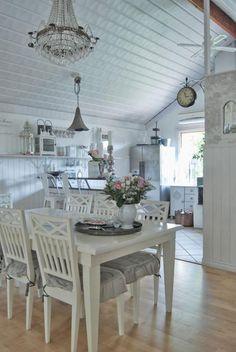 meuble shabby, salle à manger et cuisine blanches style shabby