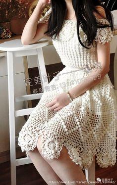 New Ideas Design Fashion Dress Patterns Crochet Wedding Dress Pattern, Crochet Wedding Dresses, Crochet Summer Dresses, Summer Dress Patterns, Crochet Skirts, Crochet Clothes, Crochet Pattern, Beau Crochet, Mode Crochet
