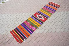Vintage Hallway Runner Rug Turkish Kilim Rug by misterpillows