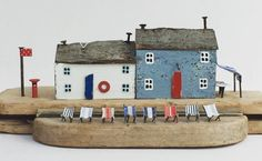 'All ready to watch the Red Arrows' Have a good weekend lovely people! Kirsty Elson, Seaside Holidays, Have A Good Weekend, Red Arrow, Fabric Remnants, Miniature Houses, Little Houses, Driftwood, Triangle