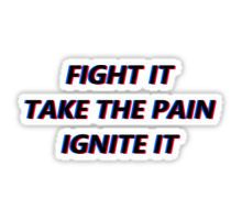 fight it take the pain ignite it Sticker