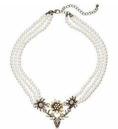 weiße Trachtenkette Dirndl Perlenkette mit Hirsch