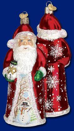 Glistening Santa with Snowman,  Christmas Glass Ornaments  www.oldworldchristmas.com