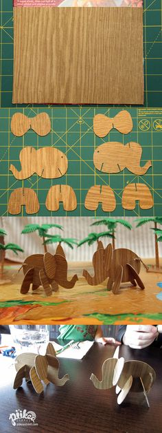 Take your collapsible faux-wood elephants to a restaurant. An Original #kids #craft by www.piikeastreet.com #piikeastreet