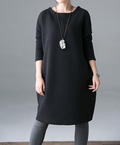 """【Fabric】 Cotton 【Color】 gray , black 【Size】 Without limiting the Shoulder Bust 134cm / 52 """" Sleeve 44cm / 17 """"  Waist 142cm / 55 """"  Length 93cm / 36 """"   Have any question... #clothing #women #dress"""