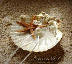 Seashell Ring Holder Beach Wedding Ring Bearer Pillow Shell Nautical Wedding Beach Wedding - pinned by pin4etsy.com