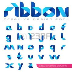 Ribbon Font vector Creative Design hitech style. ABC tape origami. Alphabet lowercase letters. Use for Logo. Stock Vector - 45453253