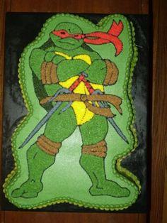 Teenage Mutant Ninja Turtle Birthday Cake and Cupcakes Ninja Turtle Cake Pan, Ninja Turtle Birthday Cake, Turtle Birthday Parties, Ninja Cake, Birthday Party Treats, Birthday Fun, Birthday Ideas, Birthday Cupcakes, Ninja Party
